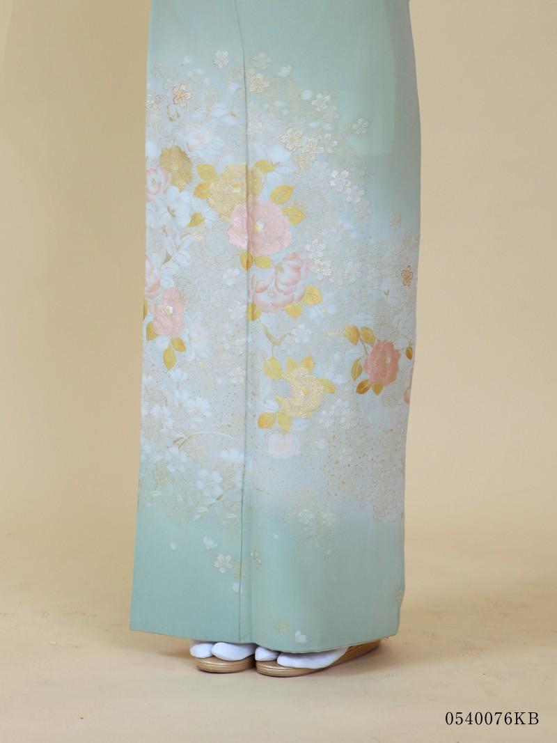 淡萌黄地に花椿(540076)