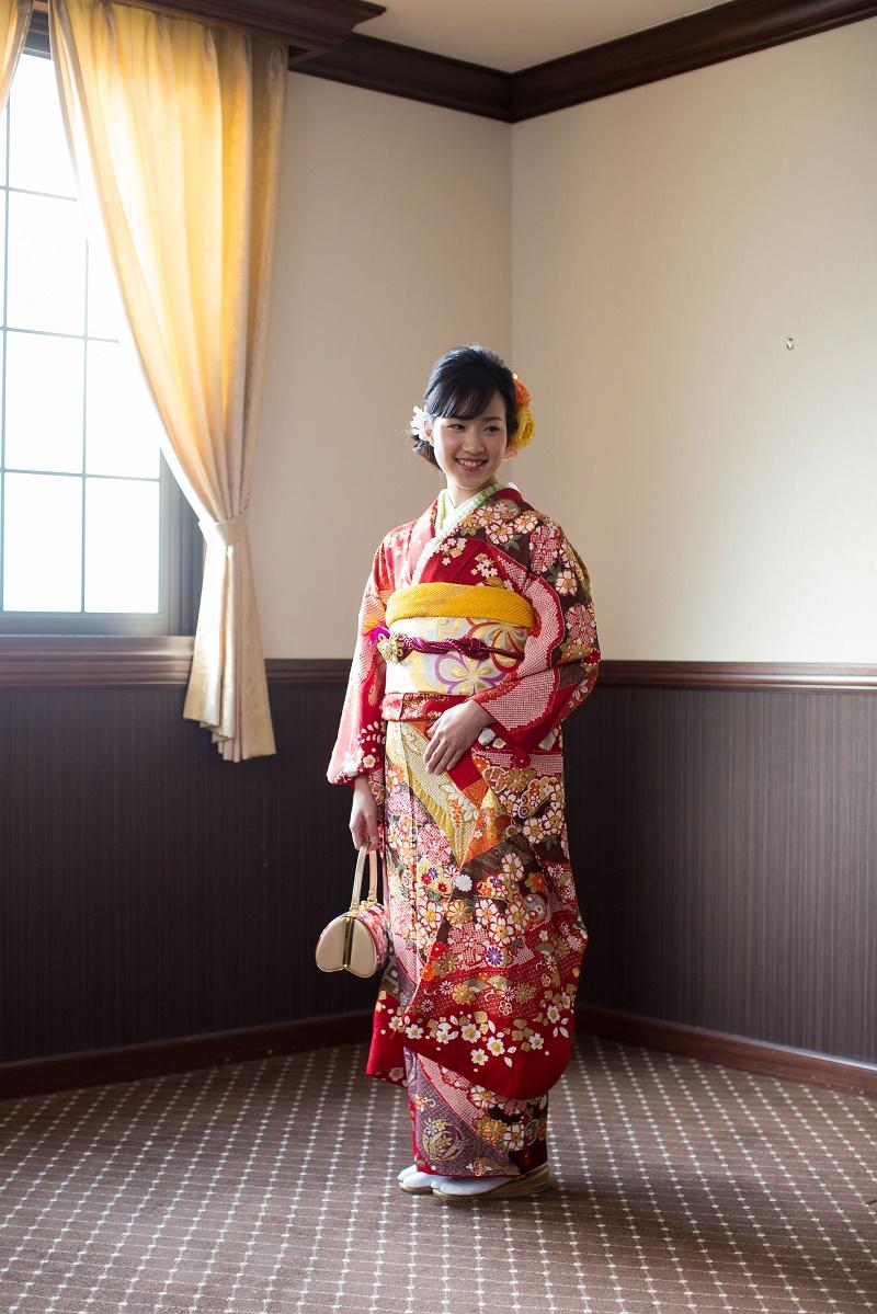 赤地 疋田絞りかすみ桜に金彩(0610523)