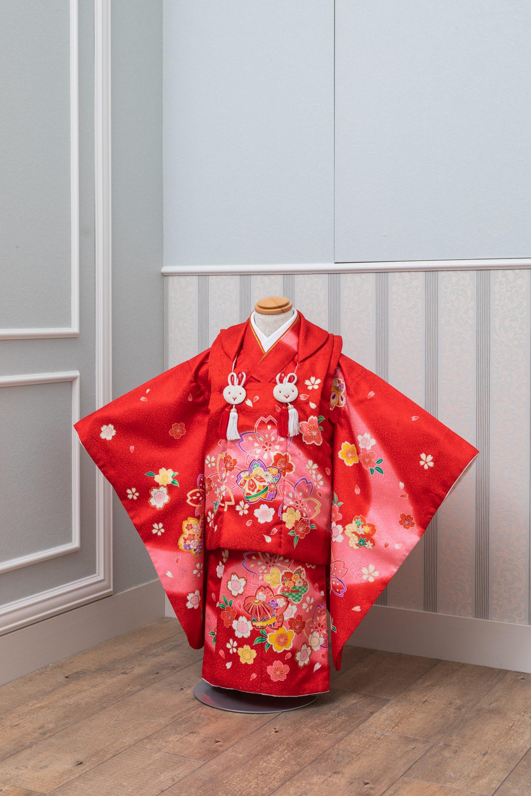被布 赤ピンクぼかし桜・ウサギ房付き(5220019)