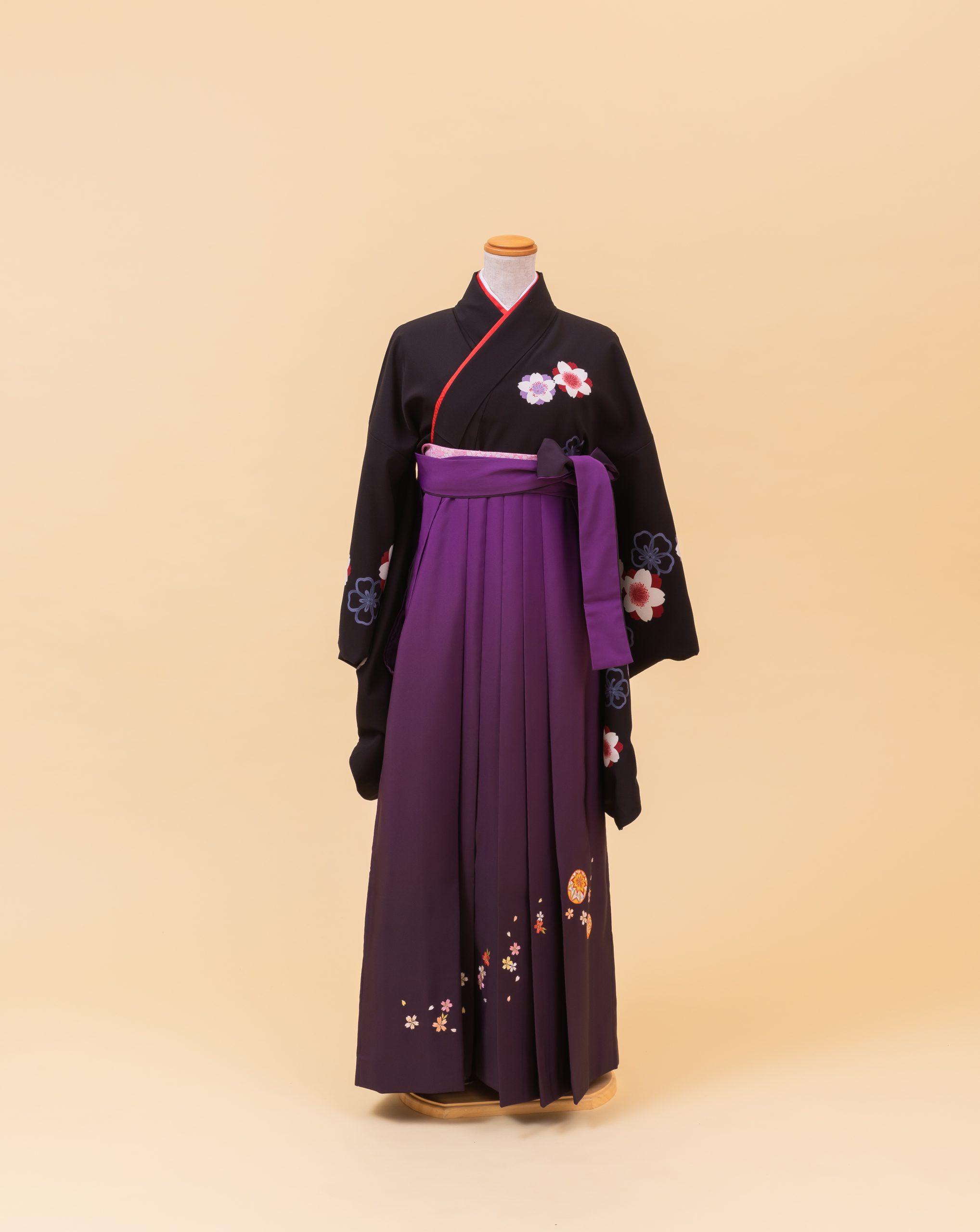黒地 桜柄(大柄)(740067)/紫 ボカシ 鞠桜刺繍