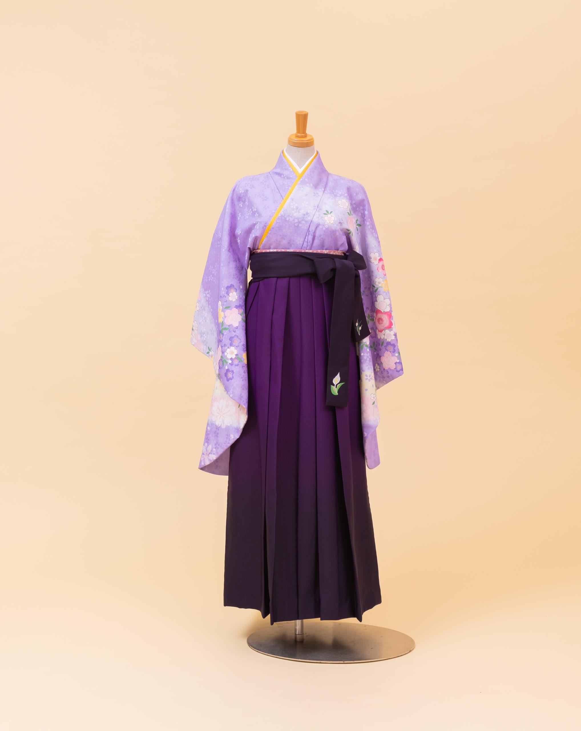 藤色ピンクイエロー桜柄(800201)/紫 ボカシ 紐刺繍入り