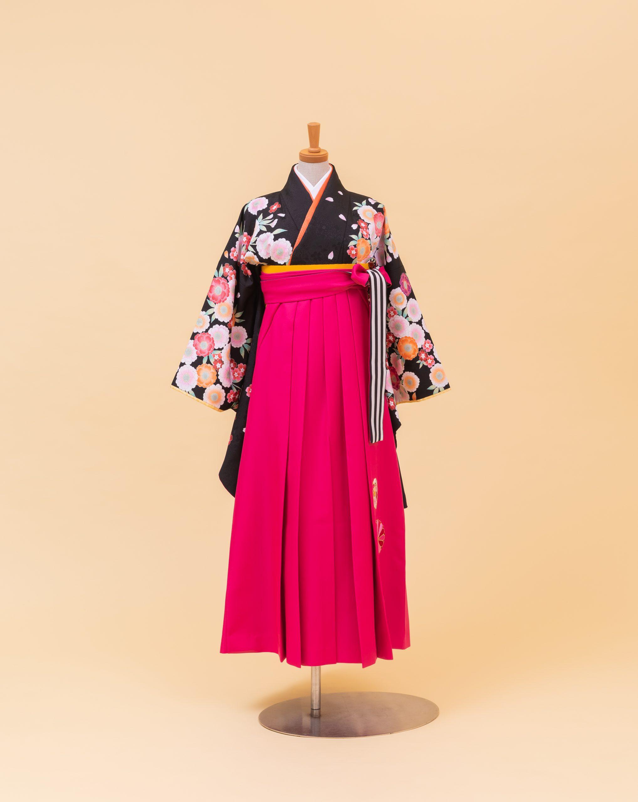 黒地八重桜(800216)/濃ピンク・雪輪鳥に菊